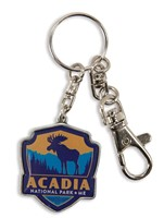 Acadia Moose Emblem Pewter Key Ring