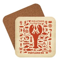 Lobster Pattern Portland, ME Coaster