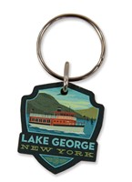 Lake George Boat Emblem Wooden Key Ring