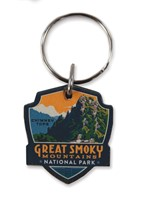 Great Smoky Chimney Tops Emblem Wooden Key Ring