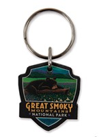 Great Smoky Wildflower Heaven Emblem Wooden Key Ring