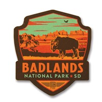 Badlands NP Bison Emblem Wooden Magnet