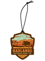 Badlands NP Bison Emblem Wooden Ornament