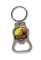 Zion Sacred Cliffs Emblem Bottle Opener Key Ring