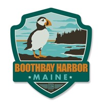 ME Boothbay Harbor Puffin Emblem Wooden Magnet