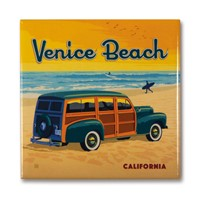 CA Venice Beach Woody Square Magnet