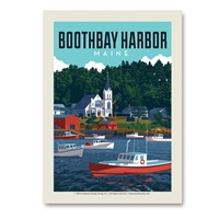 ME Boothbay Harbor Vacationland Vert Sticker
