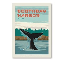 ME Boothbay Harbor Whale Tail Vert Sticker