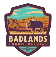 ND001EWM - Badlands ND Emblem Wooden Magnet