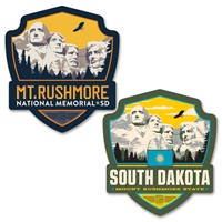 Mt Rushmore/SD State Pride Emblem Car Coaster PK of 2
