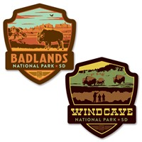 Badlands Bison/Wind Cave Emblem Car Coaster PK of 2