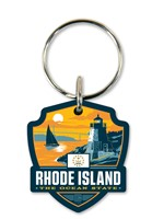 RI State Pride Emblem Wooden Key Ring