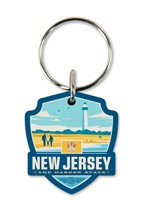 NJ State Pride Emblem Wooden Key Ring
