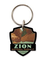 Zion The Narrows Emblem Wooden Key Ring