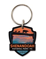 Shenandoah Bear Crossing Emblem Wooden Key Ring