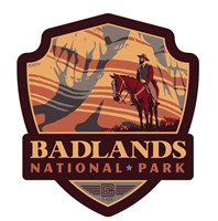 SD013EWM - Badlands NP Song of Solitude Emblem Wooden Magnet