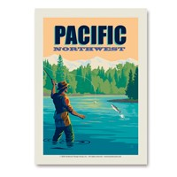 Pacific NW Fly Fishing Vert Sticker
