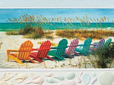 Rainbow Beach Chairs Themed Birthday Greeting Cards Jpg 396x296 Happy House